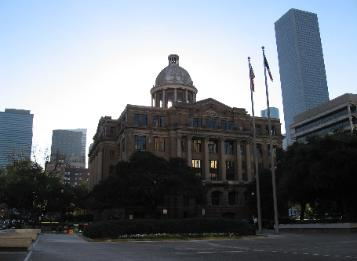Downtown Houston: Photo of Old Civil Courthouse with office tower in the background