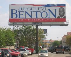 Judge Levi Benton Campaign Billboard on SW Fwy Houston Texas 215th District Court Judicial Election Race