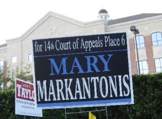 Mary Markantonis campaign billboard candidate for 14th Court of Appeals Houston TX